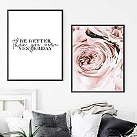 """スカンジナビアのファッションガールキャンバス絵画北欧のポスターピンクの花アートプリント装飾壁の写真リビングルーム19.6"""" x27.5""""(50x70cm)x2フレームレス"""