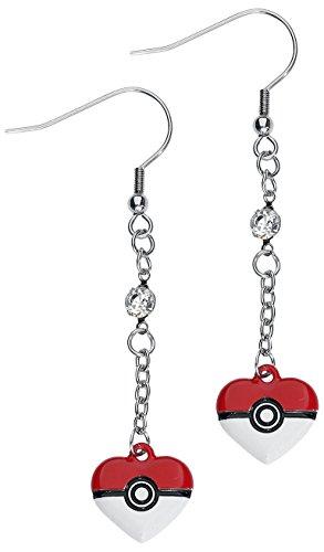 Pokemon Heart Shaped Pokeball Dangle Earrings