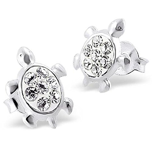 Sterling Silver Turtle Earrings with Crystal Stones Gift