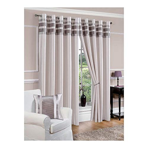 Lewis's Denver Faux Silk Eyelet Curtains | Easy Hang Polyester Lined Curtains For Bedrooms, Living Rooms | Pleated Border Eyelet Curtains | [8 Colours, 5 Sizes]