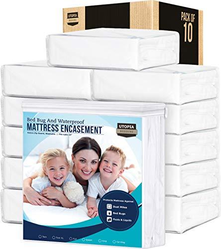 Utopia Bedding Zippered Mattress Encasement Queen - (Pack of 10) - Waterproof Mattress Protector - Bed Bug Covers
