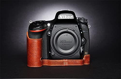 ULIN Estuche para Bolsa de cámara para Nikon D750 Cubierta de Medio Cuerpo de Cuero Genuino Hecho a Mano con Apertura de batería,Lava Brown