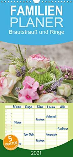 Brautstrauß und Ringe - Familienplaner hoch (Wandkalender 2021, 21 cm x 45 cm, hoch)