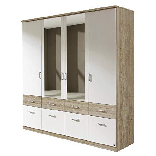 Kleiderschrank Joris weiß/grau 4 Türen B 181 cm Eiche Sanremo hell Kinder Jugend Schlafzimmer Spiegel Drehtüren Wäscheschrank