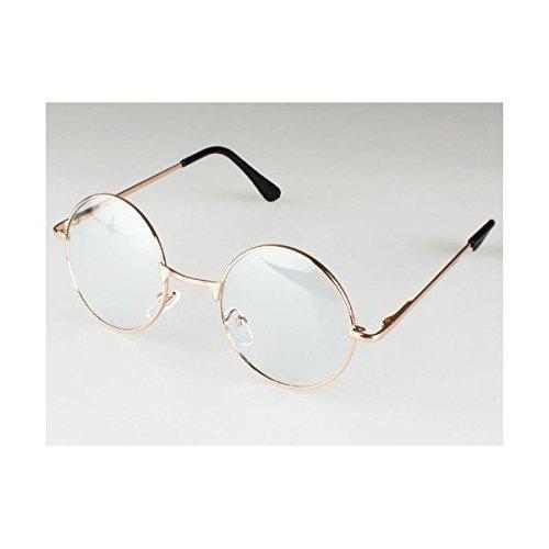 『伊達眼鏡 丸型 コスチューム用小物 ゴールド 男女共用 45x125x180mm』のトップ画像