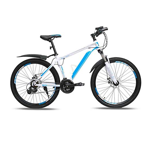 COUYY Mountain bike bicycle, male and female adult bicycle 24 speed 26 inch lightweight aluminum alloy frame double disc brakes off-road racing,White