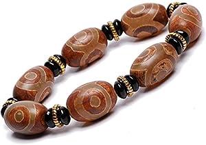 Feng Shui Glückverheißendes Armband, Natürliches Amulett Grün Tibetisch 3 Augen Dzi Perlen Armband Reichtum Armband Positive Energie Und Viel Glück