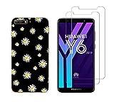 NOVAGO Compatible avec Huawei Y6 2018 -Coque Souple Solide Anti Choc avec Impression + 2 Films...