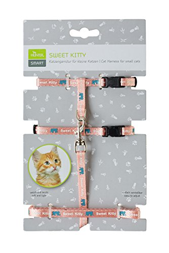 HUNTER SWEET KITTY Katzengarnitur, Nylon, Katzenleine, Geschirr, rosa