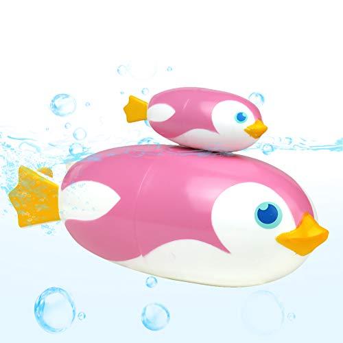 Juguetes Bañera Pinguino Animales Juguetes Piscina Juegos de Agua para Niños 3 4 5 Años (Rosa)
