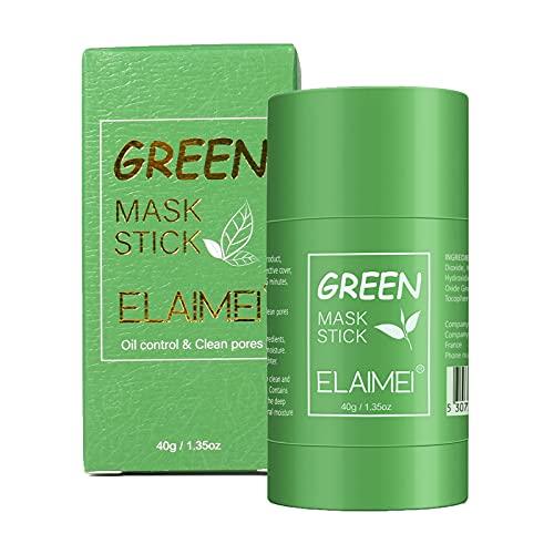 Green Mask Stick, Masque à l'argile purifiant au thé vert Bâton Contrôle de l'huile Anti-acné Aubergine Fine Solide, Dissolvant de points noirs Masque solide nettoyant pour l'acné Pores Shrink