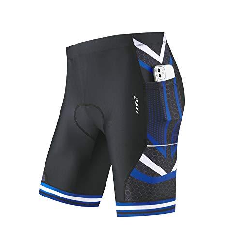 BALEAF Men's Bike Shorts 4D Padded Pockets Cycling Bicycle Riding Mountain Biking Cycle Half Pants UPF50+ Blue L