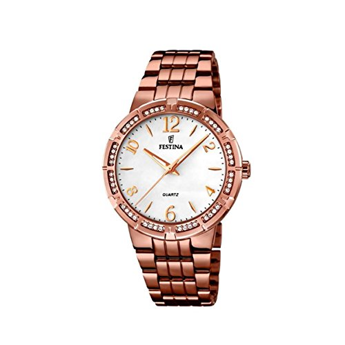 Festina Damen Analog Quarz Uhr mit Edelstahl Armband F16797/3