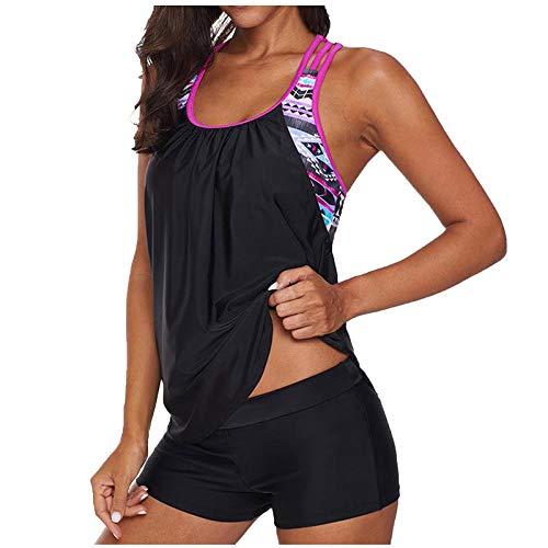 Women Two Piece Swimsuits,Plus Size Bathing Suits Sporty Top + Boyshort Swimsuit (Black, XXL)