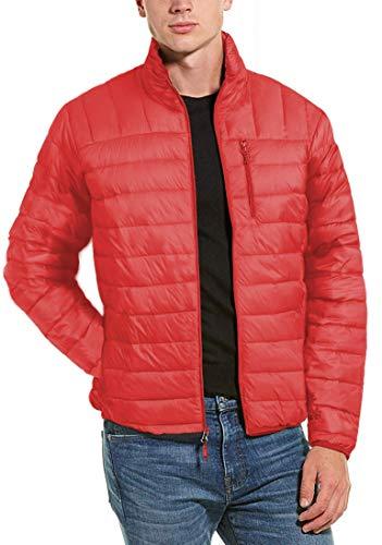 Hawke & Co Men's Packable Down Jacket Hidden Hood, Princeton Orange, X-Small