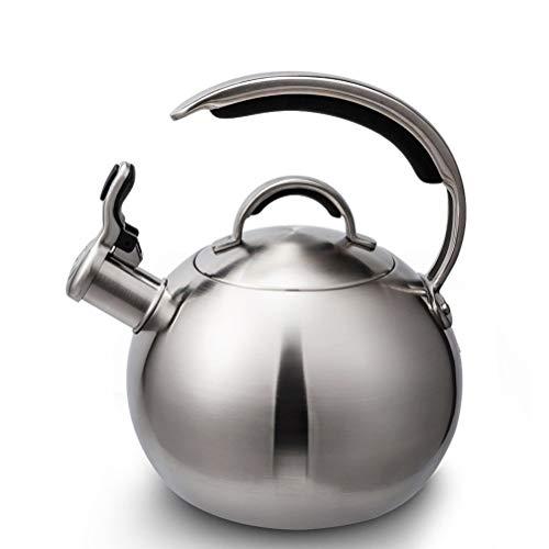 lxm Acero Inoxidable Caldera Superior de La Estufa para, Silba Tetera con Forma de C Resistentes Al Calor Mango Y Botón for El Pulgar Canalón / 3 litros (Color : Silver, tamaño : 3L)