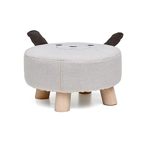 XJAXY Polster Fußbank Ottoman Runde Pouffe Holzbeine Square 4 Beine Fußraste Ottoman Fuß Hocker Stuhl Sitzbank, Niedlich Sturdy Chair Für Kinder,B