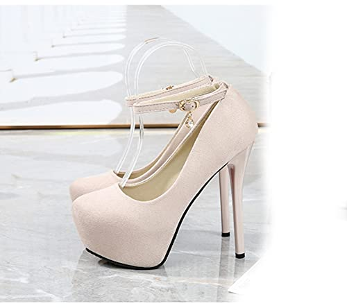 TER 2021 Sexy Nightclub Plataforma Impermeable Zapatos de Mujer de tacón Alto Boca Baja Gamuza Punta Redonda Correa Zapatos Individuales
