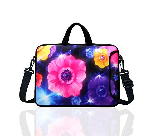 """TAIDY 12.5-Inch Laptop Shoulder Bag Sleeve Case with Handle for 11.6"""" 12"""" 12.2"""" 12.5"""" Netbook/MacBook Air Pro (Colourful Flower)"""