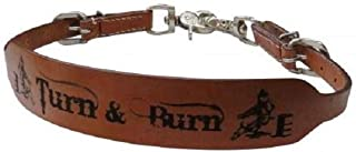 Showman Turn & Burn Leather Wide Wither Strap Barrel Racing 2 Trigger Snaps