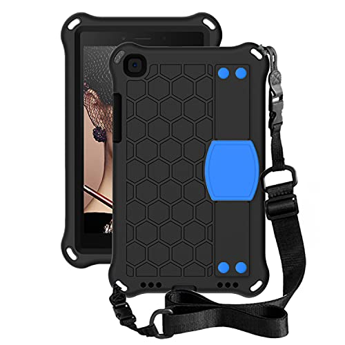 BlinkCat Funda para Galaxy Tab A7 Lite 8.7 (2021) Anti-caída Proteccion Cubrir con Hombro Correa + Mano Correa para Samsung Galaxy Tab A7 Lite 8.7 (2021) / SM-T220 SM-T225 - Negro+Azul
