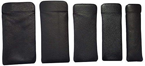 Unbekannt Brillenetui hochwertiges Einstecketui Nappastecker Echt Leder Herrenetui mit Innenfutter für Brusttasche groß klein (155mm x 55mm, cognac)