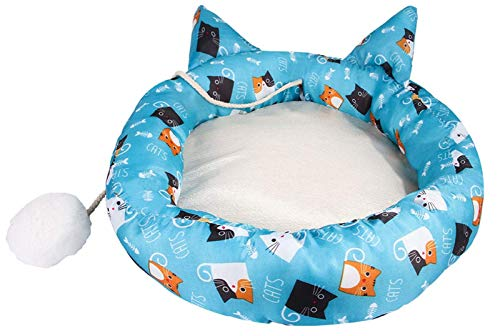 Cute Cat Shape Bed For Indoor Small Medium Cats With Cat Plush Toy Ball, Soft Cat Sofa With Anti-Slip Bottom Washable Mattress Bed (Color : Cat, Size : L) XYXG