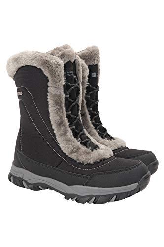 Mountain Warehouse Ohio Womens Snow Boots - Schneesichere Damen-Winterschuhe, strapazierfähiges und atmungsaktives Isotherm-Futter und Gummilaufsohle - Für Passform Schwarz 39 EU