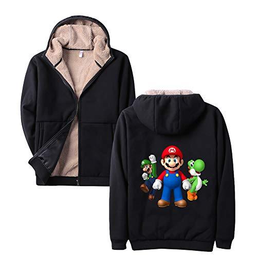 HEAIMONLA Super Mario Pullover Plus samt dicken Pullover Lamm Cashmere Sport Winter lässig mit Kapuze Strickjacke lose warme Jacke (Color : Black35, Size : XL)