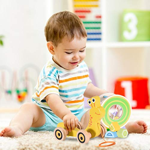 New Fdrone Entertaining Wooden Shape Pull Toy - Wooden Puzzle Educational Toy Toddler Learning Toy