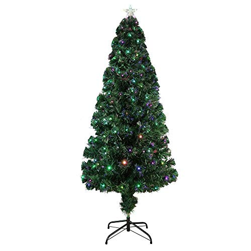 Homegear Artificial Pre-Lit Fiber-Optic Christmas Tree 5ft with 175 Color Lights and Star
