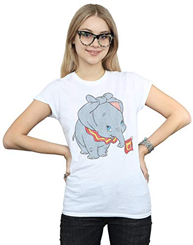 Disney Mujer Dumbo Classic Tied Up Ears Camiseta Blanco Medium