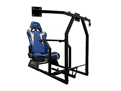 GTR Simulator GTAF-BLK-S105LBLWHT - GTA-F Model (Black) Triple or Single Monitor Stand with Blue/White Adjustable Leatherette Seat, Racing Simulator Cockpit Gaming Chair Single Monitor Stand