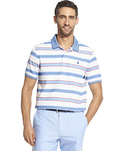 IZOD Men's Advantage Performance Short Sleeve Stripe Polo, Bright White Legacy, XX-Large