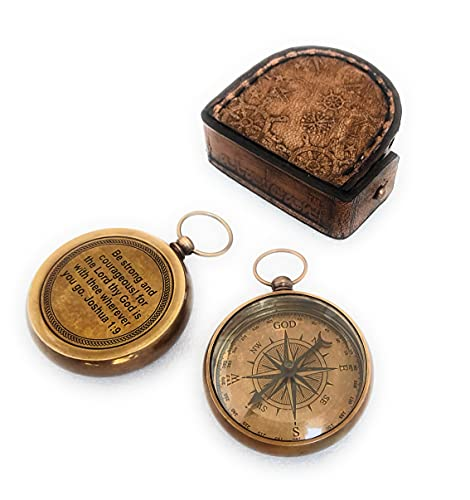 ALADEAN God Guide Me Brass Compass Unique Leather Case   Uplifting   Heavenly Gift of Faith Perfect Baptism Gift, Missionary, Birthday, or Confirmation Gift