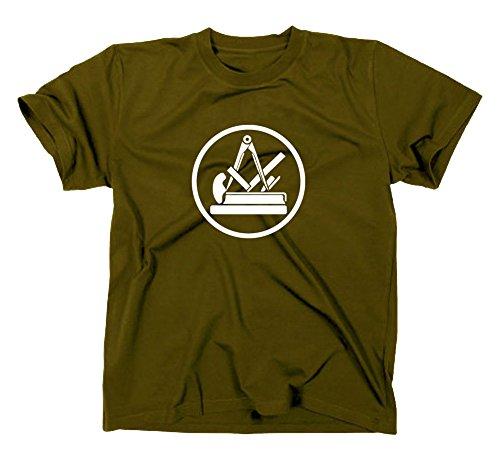 Tischler Schreiner Handwerk Zunft Logo T-Shirt, XL, Oliv
