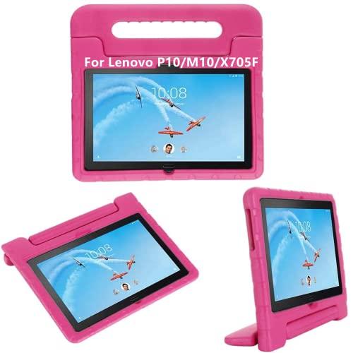 Lenovo M10 (TB-X605F TB-X505F) 10.1 Zoll Tablet hülle, KAVON Lenovo P10 (TB-X705F) Stoßfest Eva Abnehmbarer Handgriff Schutzhülle für Schale Hüllen (Rosa Rot)