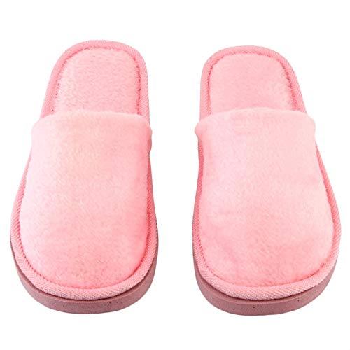 CVBN Felpa Interior Hogar Mujeres Hombres Zapatos Antideslizantes Suave y cálido Algodón Zapatillas silenciosas, Rosa, 40-41