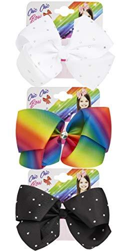 KreativeKraft Haarschmuck Mädchen, 3er Pack Regenbogen Schwarz und Weiss Haarspangen Mädchen Set mit Strasssteine, Kinder Fashion Kleidung Accessoires, Geschenke für Mädchen