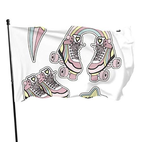 XiexHOME Nette Retro Rollschuhe Flagge Raumdekorationen Dekorieren Flaggen 3x5 Fuß Lebendige Farben Qualität Polyester und Messing Ösen