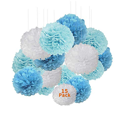 Pom Poms Paper Decorations,XCOZU 15Pcs Tissue Pom Poms for Wedding Party,Hanging Tissue Papers Ball for Festival Birthday Party Decoration Pom Poms,Blue and White Paper Flower Ball