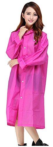 ilishop Packable Rain Jacket Lightweight Transparent EVA Raincoat with Hood