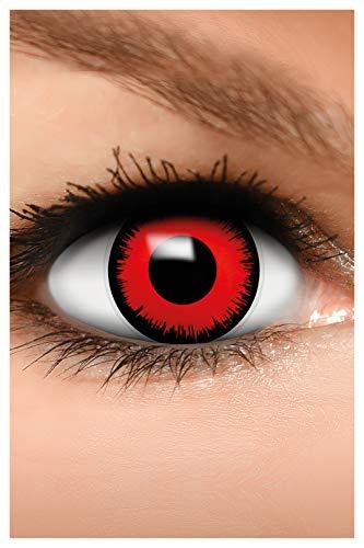 FUNZERA Farbige Halloween Kontaktlinsen rot VOLTURI VAMPIR, weich, 2 Stück (1 Paar), Ohne Sehstärke