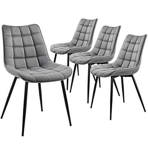 Yaheetech Esszimmerstühle 4er Set Küchenstuhl Wohnzimmerstuhl Polsterstuhl Grau