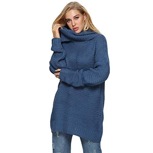 Subfamily Damen Strickpullover Sweater Rollkragen Pullover Elegant Jumper Strick Pulli (Blau, XL)