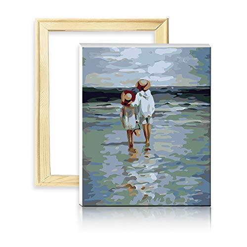 "decalmile Pintura por Números de Kits DIY Pinturas al Óleo Pintura Acrílica para Adultos Principiantes Mar Paisaje 16""X 20"" (40 x 50 cm, con Marco de Madera)"