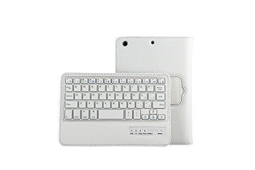 【PCATEC】 iPad mini 1/2/3/4 専用レザーケース付き Bluetooth キーボード☆スタンド機能付き キーボード着脱可能 手帳型 PUレザーケース付き 電池内蔵 持ち運び便利 無線キーボード (ホワイト)