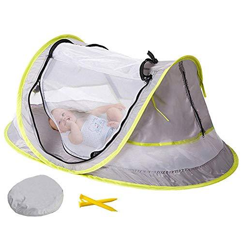 Volwco Tienda de campaña para bebé, mosquitera para bebé, portátil, plegable, protección UV, UPF 50, ligera, para viajes al aire libre, cuna y 2 piquetas