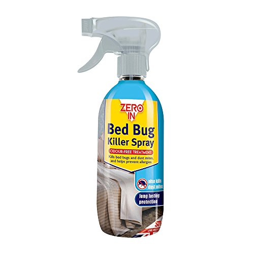 Zero In 500 ml Bed Bug Killer Spray, Long-Lasting, Solvent-Free, Odourless, Water-Based Household Treatment, Kills Bed Bugs and Dust Mites - Clear
