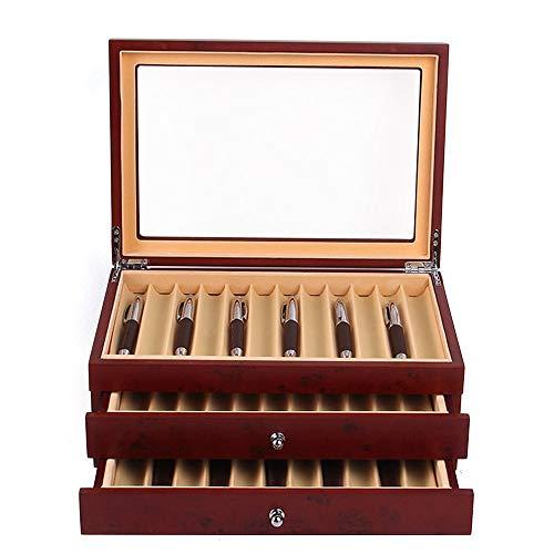 Caja de 3 capas de madera para bolígrafos, 34 cajas organizadoras para bolígrafos, almacenamiento y organizador de bolígrafos con ventana de cristal (rojo)